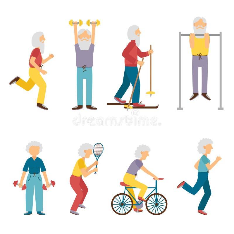 Wektorowej kreskówki aktywności starzy ludzie ilustracja wektor