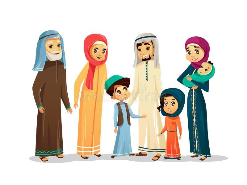 Wektorowej kreskówki arabscy rodzinni charaktery ustawiający ilustracji