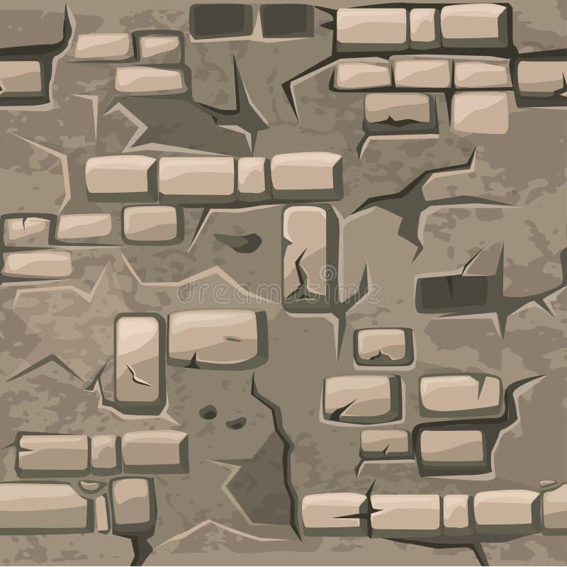 Wektorowej kreskówki bezszwowej deseniowej tekstury stary krekingowy ściana z cegieł ilustracja wektor