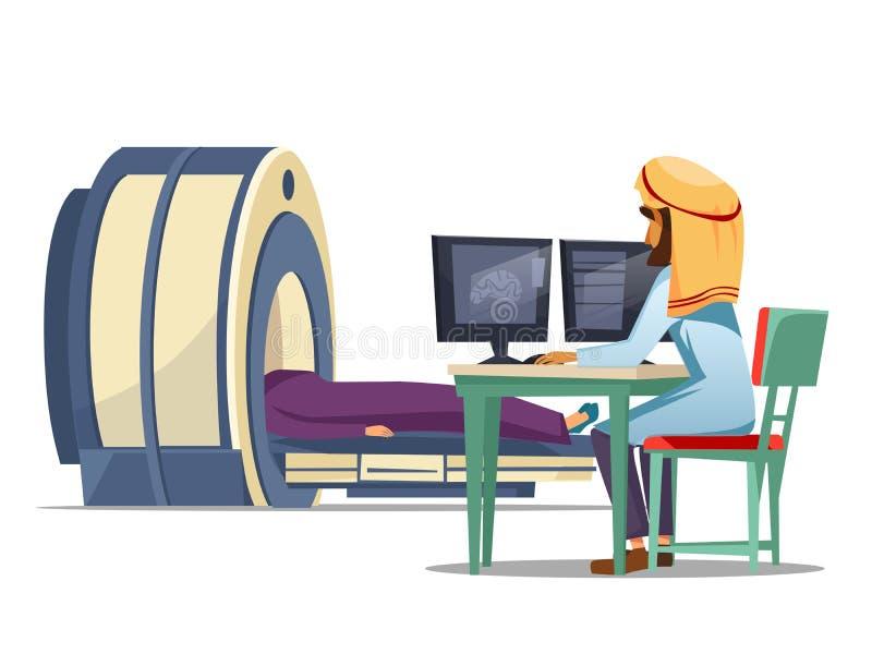 Wektorowej kreskówki ct mri tomografii arabski przesiewanie ilustracji
