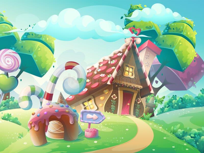 Wektorowej kreskówki cukierku ilustracyjny słodki dom ilustracja wektor