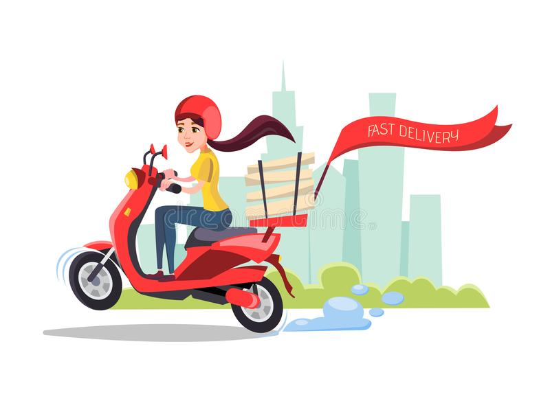Wektorowej kreskówki doręczeniowej dziewczyny jeździecka hulajnoga ilustracji