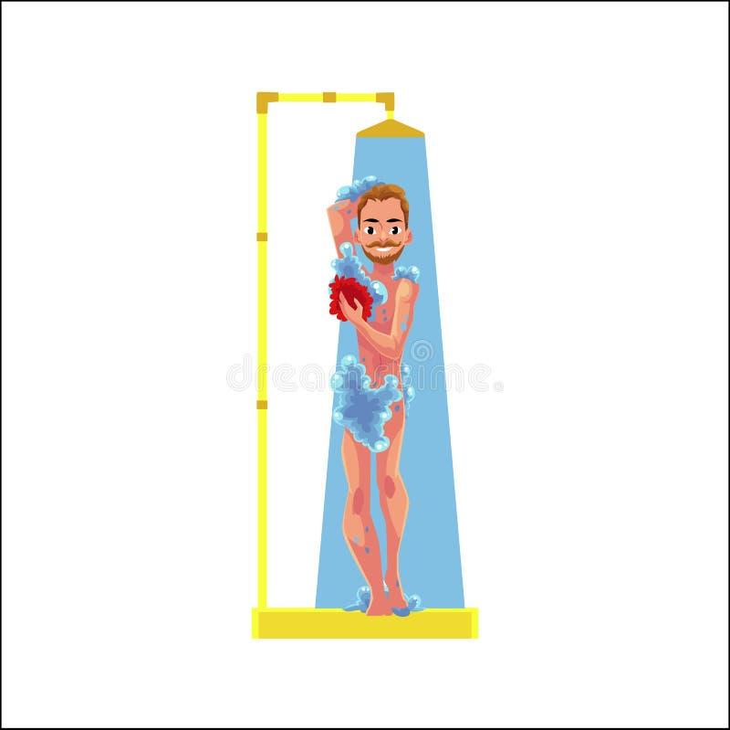 Wektorowej kreskówki dorosły mężczyzna bierze prysznic odizolowywającą ilustracja wektor
