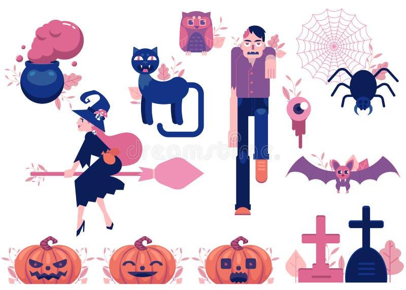 Wektorowej kreskówki Halloween jesieni wakacyjni symbole ustawiający royalty ilustracja