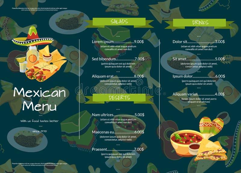 Wektorowej kreskówki kawiarni lub restauracja menu szablonu meksykańska karmowa ilustracja ilustracji