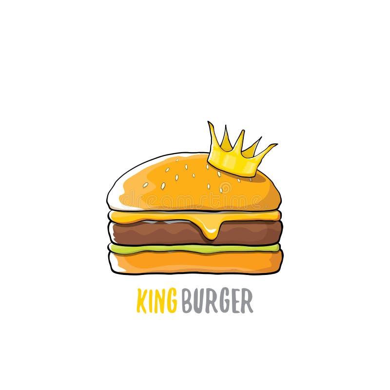 Wektorowej kreskówki królewiątka królewski hamburger z serową i złotą korony ikoną odizolowywającą na białym tle ilustracja wektor