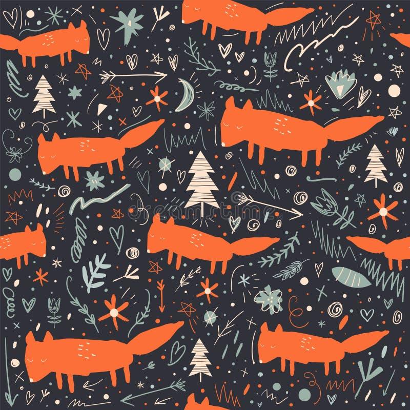 Wektorowej kreskówki lisów lasu śliczny mały wzór royalty ilustracja