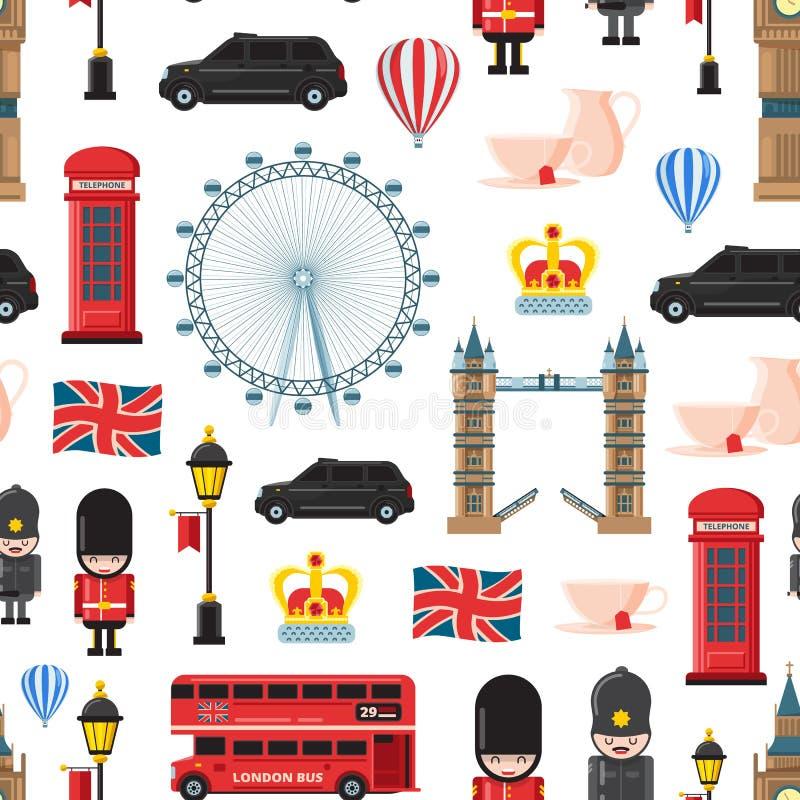 Wektorowej kreskówki Londyńscy widoki, przedmiota wzór i tło ilustracja lub ilustracji