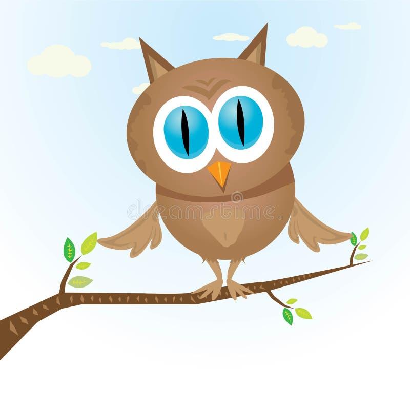 Wektorowej kreskówki małej sowy śliczny ptak na gałąź royalty ilustracja