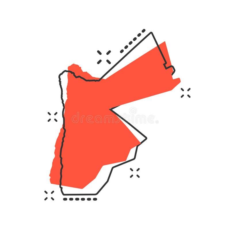 Wektorowej kreskówki mapy Jordanowska ikona w komiczka stylu Jordania znaka illus ilustracji