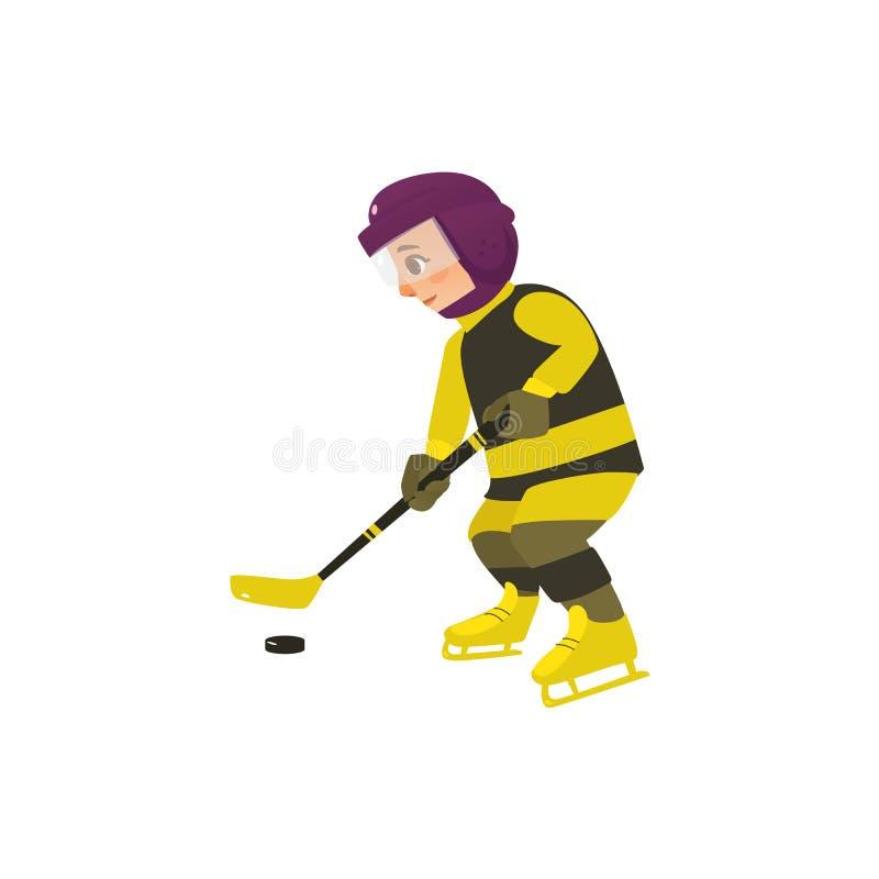 Wektorowej kreskówki nastoletnia chłopiec bawić się lodowego hokeja ilustracji
