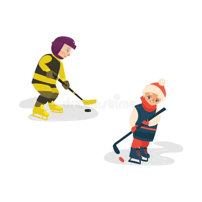 Wektorowej kreskówki nastoletnie chłopiec bawić się lodowego hokeja royalty ilustracja