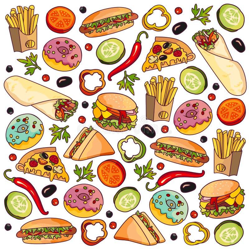 Wektorowej kreskówki płaski fast food ustawiający odizolowywającym ilustracji