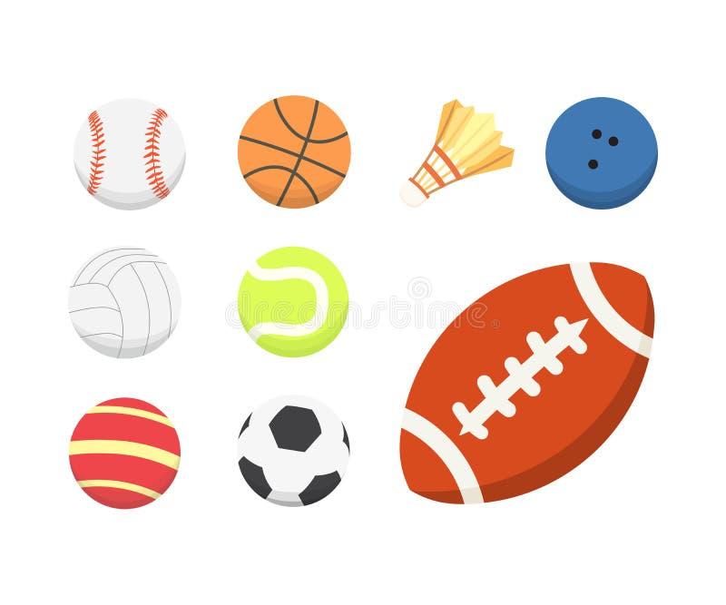 Wektorowej kreskówki piłki kolorowy set sport piłek ikony odizolowywać ilustracji