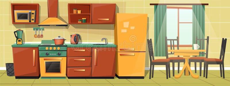 Wektorowej kreskówki rodzinna kuchnia z urządzeniami, meble royalty ilustracja