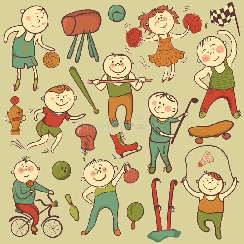 Wektorowej kreskówki sporta śliczni gracze ilustracja wektor