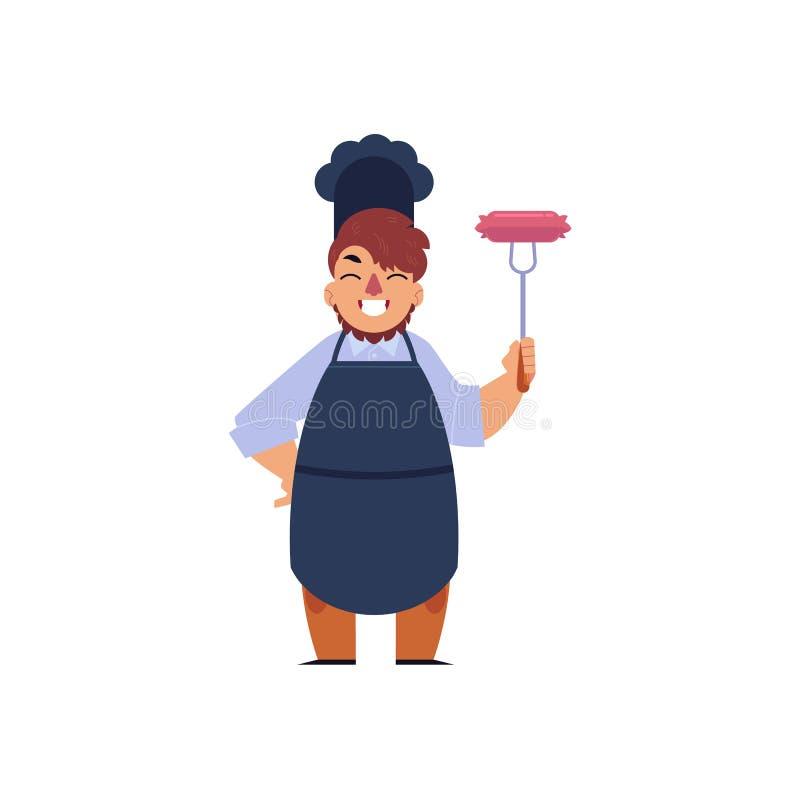 Wektorowej kreskówki szefa kuchni mienia rozwidlenia młoda kiełbasa royalty ilustracja