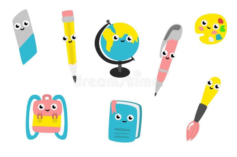 Wektorowej kreskówki szkolnych dostaw śliczni charaktery ustawiający ilustracja wektor