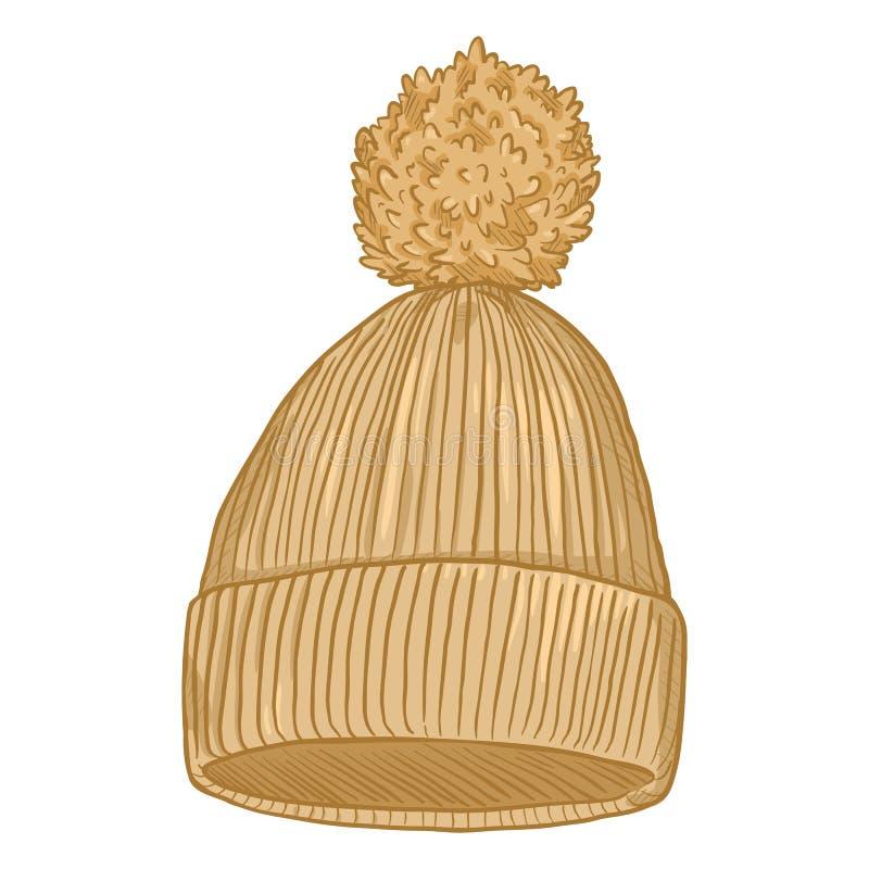 Wektorowej kreskówki Trykotowy kapelusz z pomponem royalty ilustracja