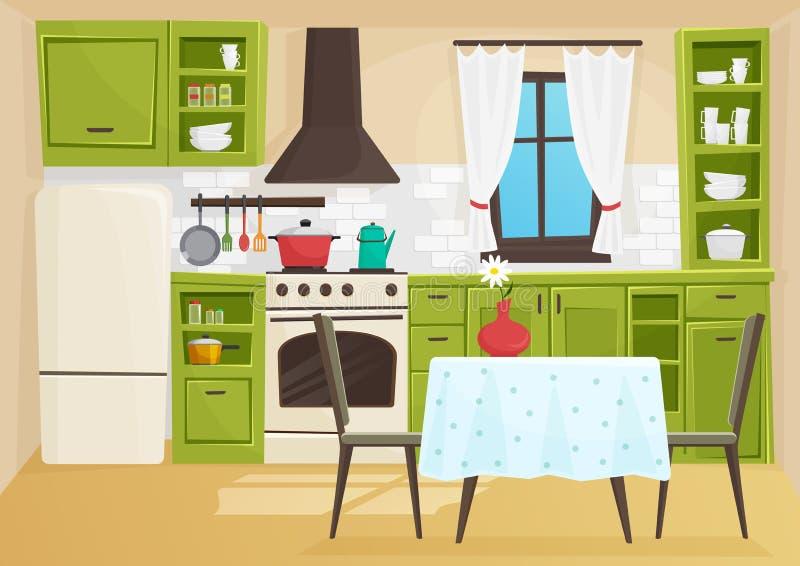 Wektorowej kreskówki wolumetryczna ilustracja rocznika retro kuchenny wnętrze ilustracji