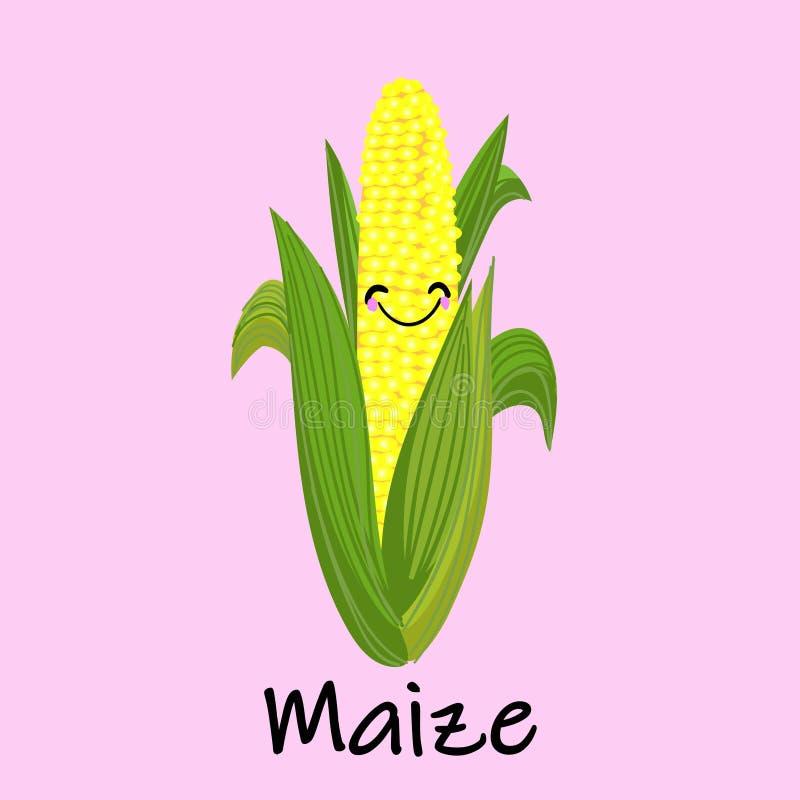 Wektorowej kreskówki Złota kukurudza Naturalna kukurydzy ikona P?aska ilustracja naturalnej kukurydzy wektorowa ikona dla sie? pr ilustracja wektor