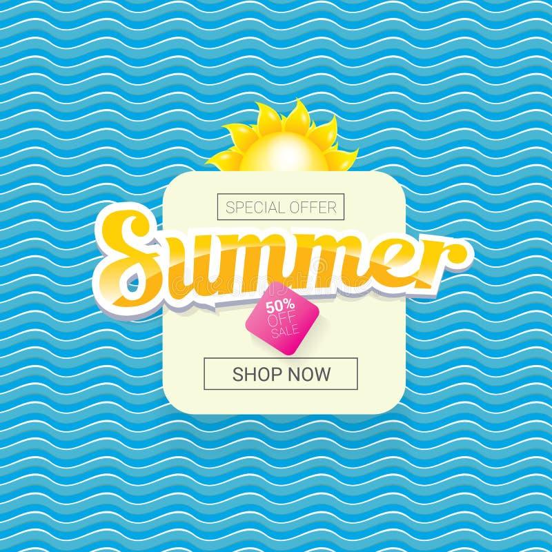 Wektorowej lato sprzedaży etykietki projekta jaskrawy szablon ilustracji