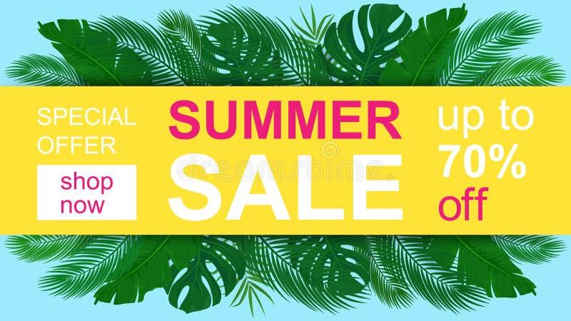 Wektorowej lato sprzedaży horyzontalny sztandar z tropikalnymi liśćmi ilustracji