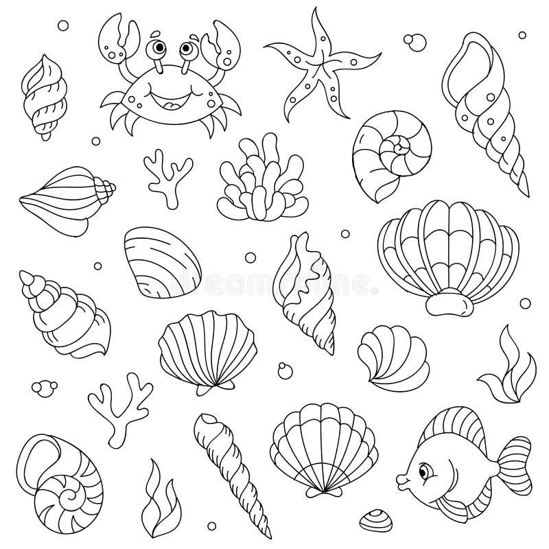 Wektorowej lineart kreskówki doodle dennych zwierząt komiczni dzieciaki ustawiający royalty ilustracja