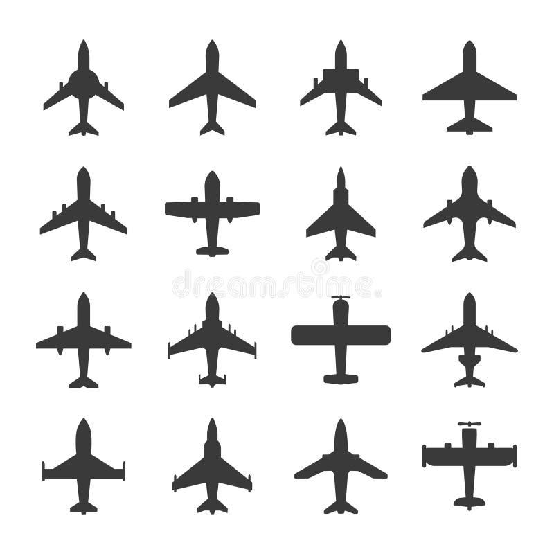 Wektorowej lotniczego samolotu ikony ustalony piktogram ilustracja wektor