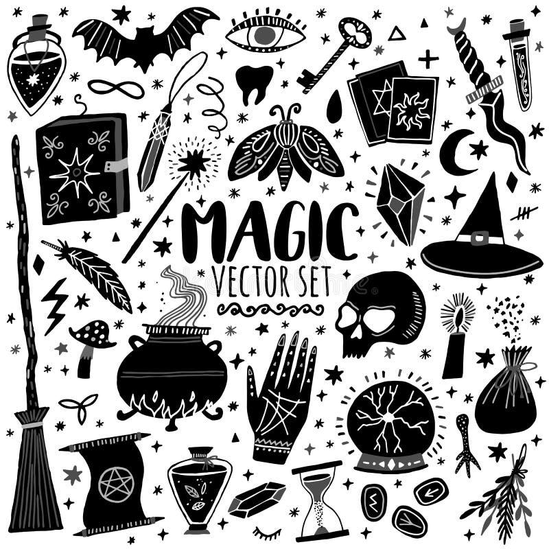 Wektorowej magicznej ikony doodle pociągany ręcznie set ilustracji