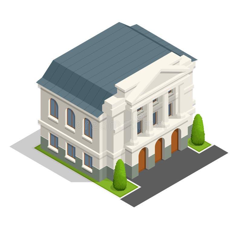 Wektorowej merostwo budynku isometric architektury jawni rządowi budynki royalty ilustracja