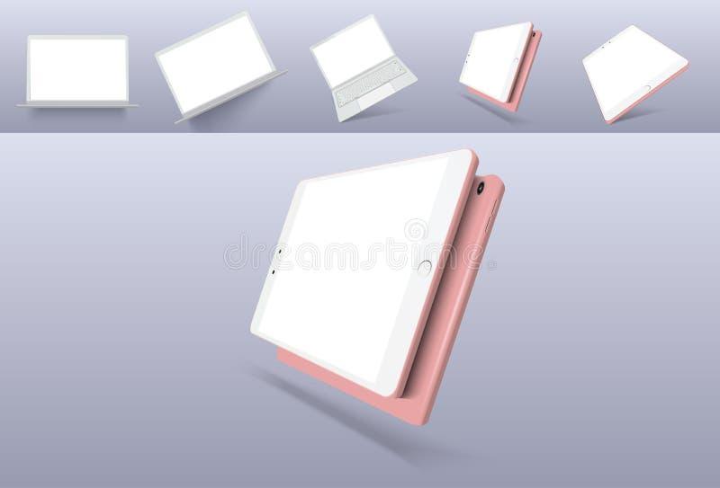 Wektorowej minimalistic 3d isometric ilustracji ustalony przyrząd Smartphone, laptop, pastylka, tv perspektywiczny widok Mockup r royalty ilustracja