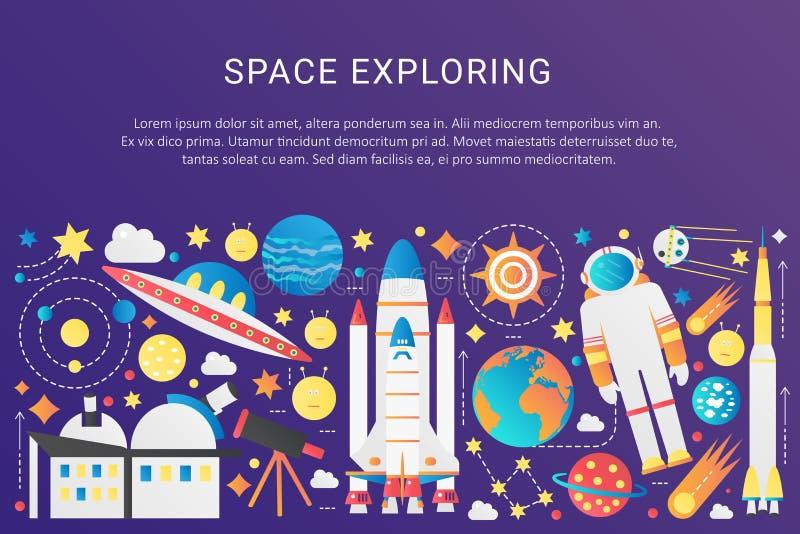 Wektorowej modnej płaskiej gradient przestrzeni wszechrzeczy infographic elementy inkasowi z słońcem, planety, gwiazdowi statki k ilustracja wektor