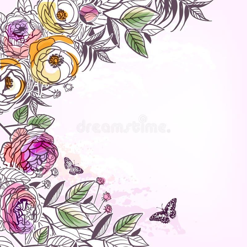 Wektorowej nakreślenie kwiatu tła karty różani pions royalty ilustracja