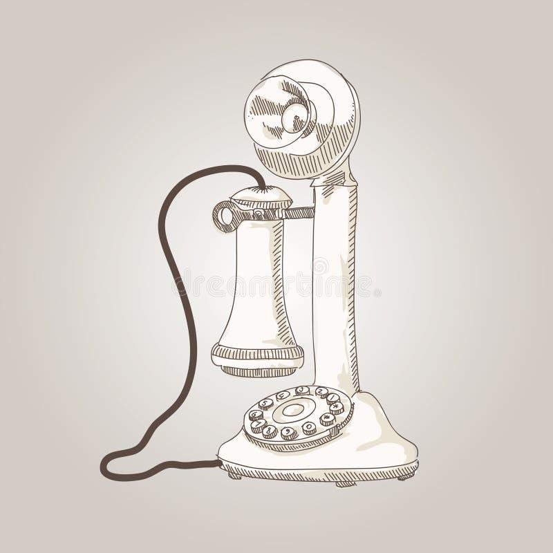 Wektorowej nakreślenie ręki antyka rysunkowy telefon royalty ilustracja