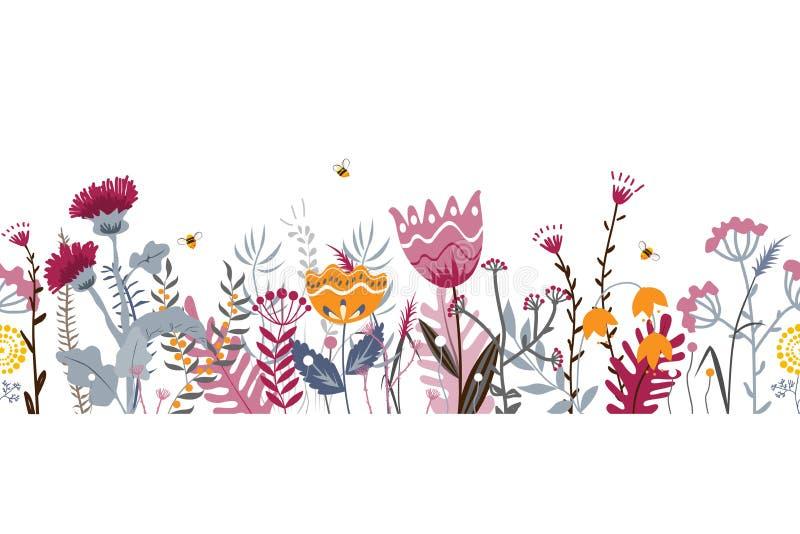 Wektorowej natury bezszwowy t?o z ziele, kwiatami i li??mi na bielu r?ki rysuj?cymi dzikimi, Doodle stylowy kwiecisty royalty ilustracja