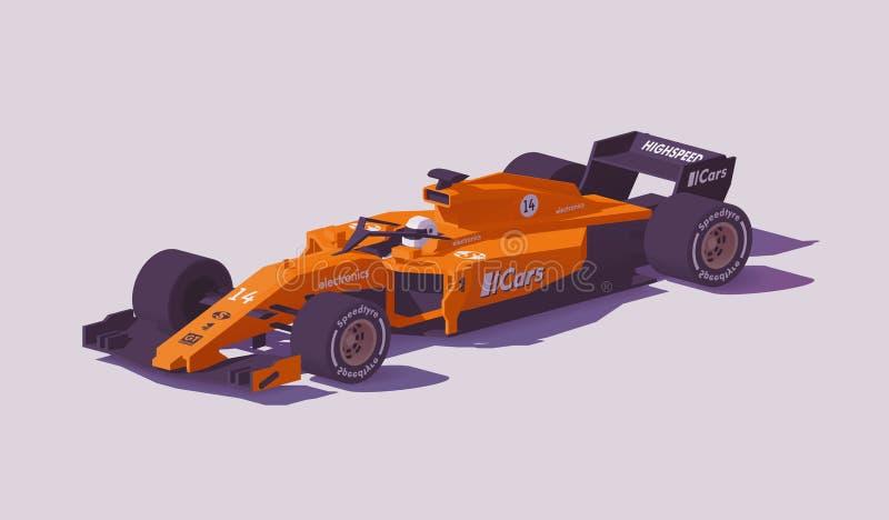 Wektorowej niskiej poli- formuły bieżny samochód ilustracja wektor