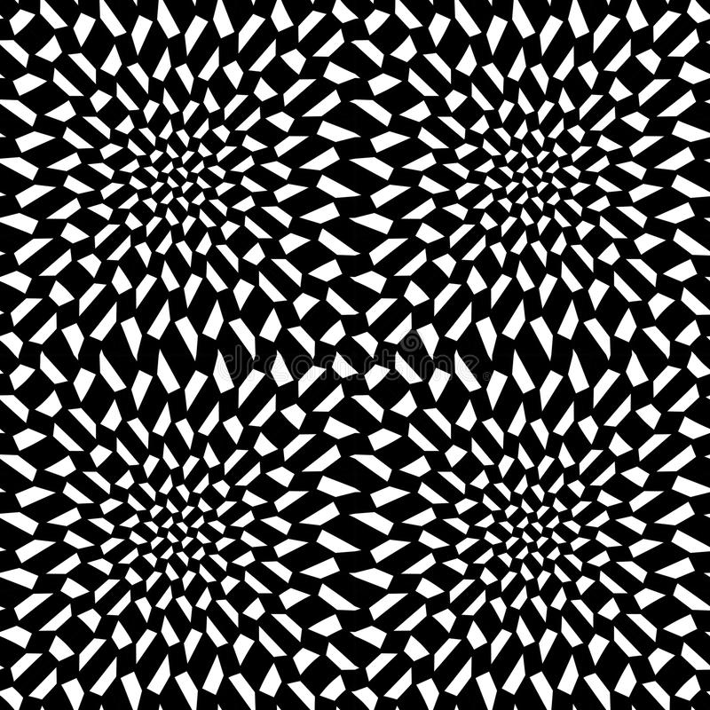 Wektorowej nowożytnej abstrakcjonistycznej geometrii psychadelic wzór czarny i biały bezszwowy geometryczny szalony tło ilustracji