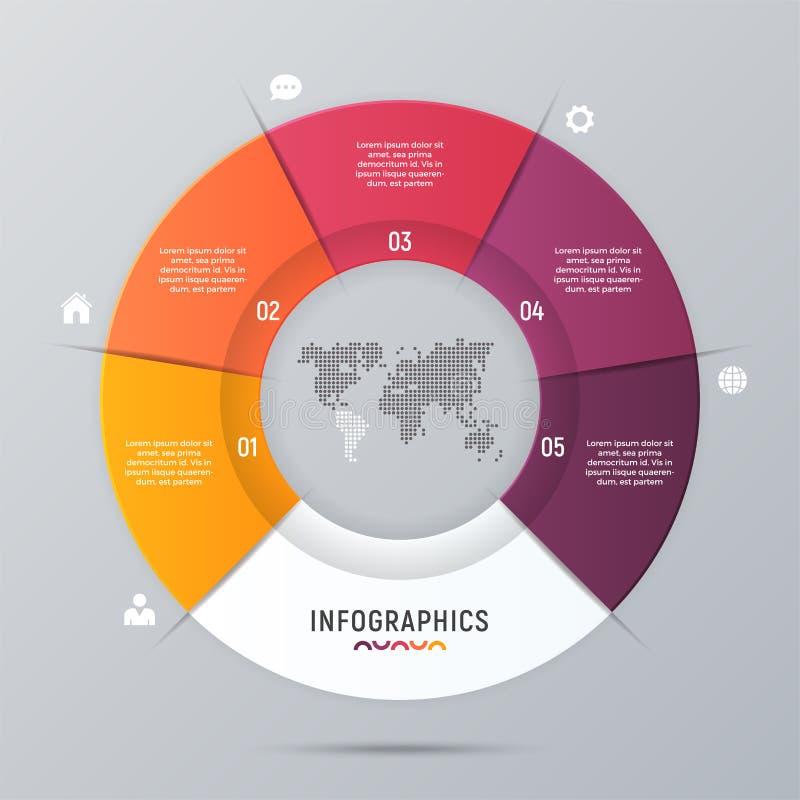 Wektorowej okrąg mapy infographic szablon dla prezentacj, adve ilustracja wektor