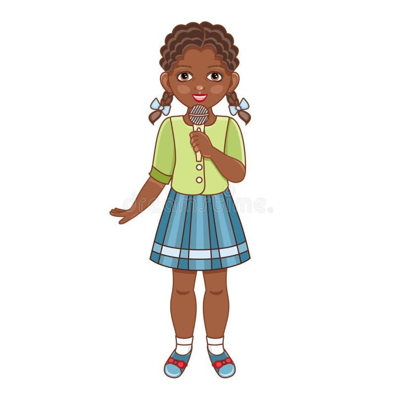 Wektorowej płaskiej afrykańskiej czarnej dziewczyny śpiewacki mikrofon royalty ilustracja