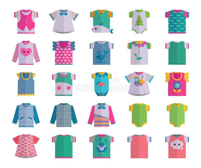 Wektorowej płaskiej dziecko niemowlaka ikony projekta odzieżowej tekstylnej ustalonej przypadkowej tkaniny dziecka szaty odzieży  royalty ilustracja