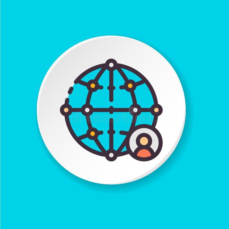 Wektorowej płaskiej ikony globalna sieć Guzik dla sieci app lub wiszącej ozdoby royalty ilustracja