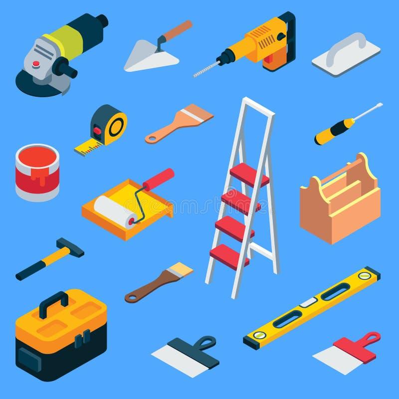 Wektorowej płaskiej isometric dom naprawy pracy narzędziowy zestaw royalty ilustracja