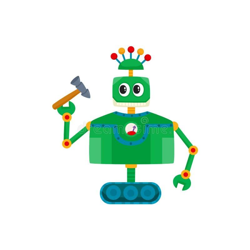 Wektorowej płaskiej kreskówki mały śmieszny męski męski robot royalty ilustracja