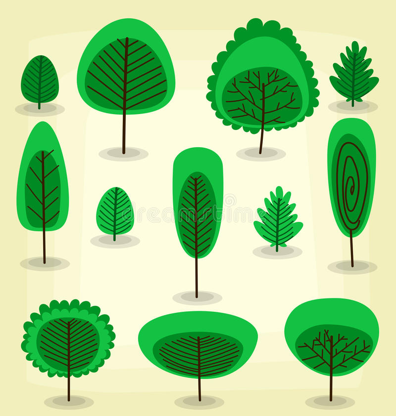 Wektorowej płaskiej kreskówki szablonu drzewna kolekcja w abstrakta stylu ilustracji