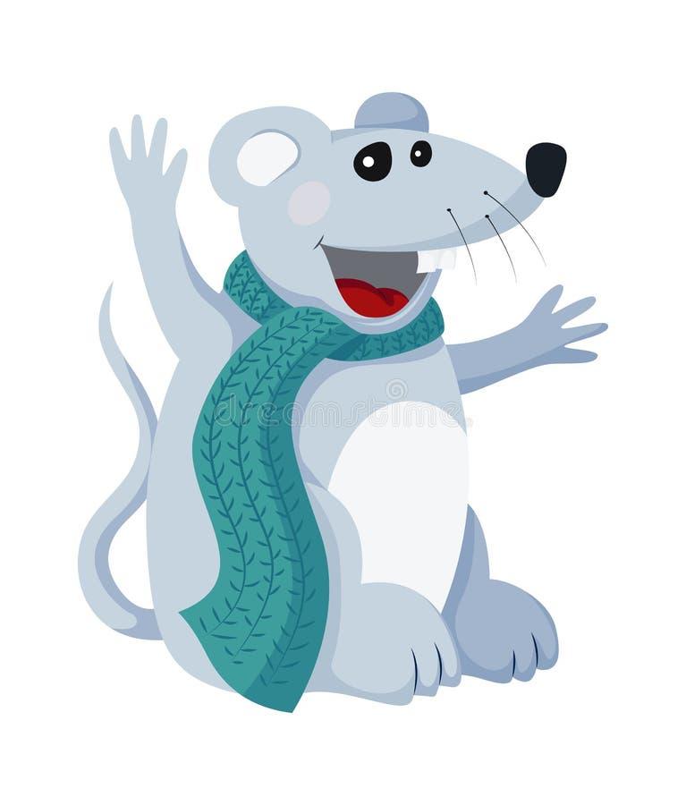 Wektorowej płaskiej myszy zwierzęca ilustracja dla bożych narodzeń i nowego roku symbolu elementu royalty ilustracja