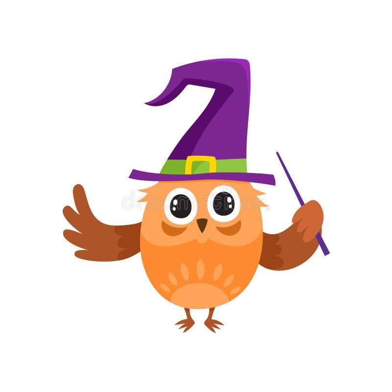 Wektorowej płaskiej sowy dancingowa czarownica, czarownik wskazywał kapelusz royalty ilustracja