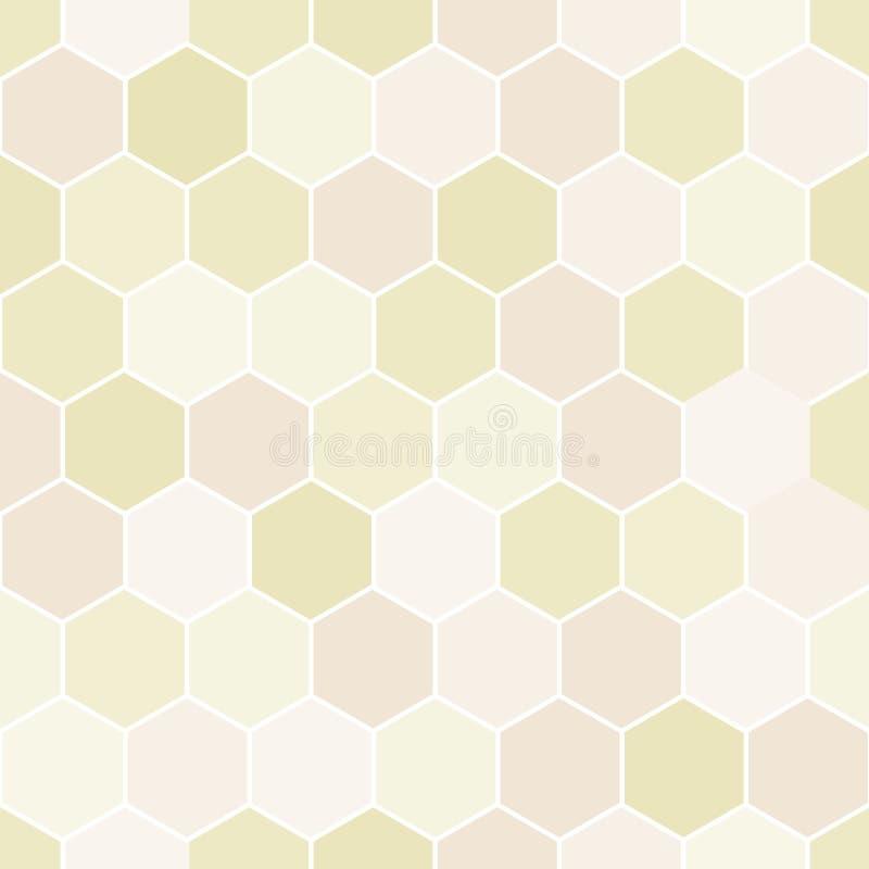 Wektorowej Pastelowej Żółtej brzoskwinia sześciokątów roju Abstrakcjonistycznej Geometrycznej tekstury powtórki Bezszwowy wzór royalty ilustracja