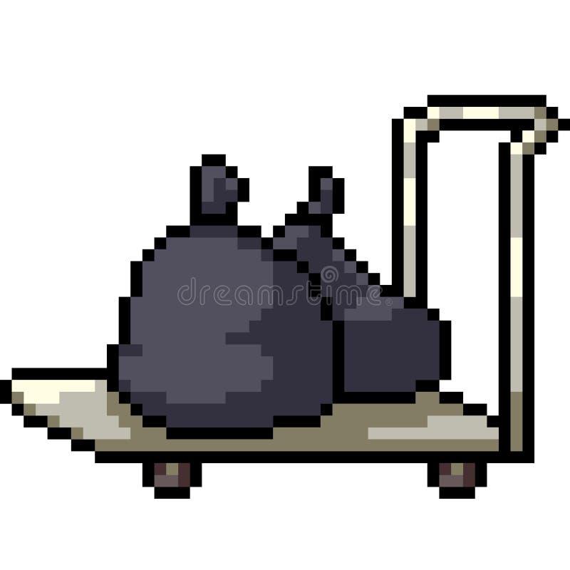 Wektorowej piksel sztuki śmieciarska fura ilustracji