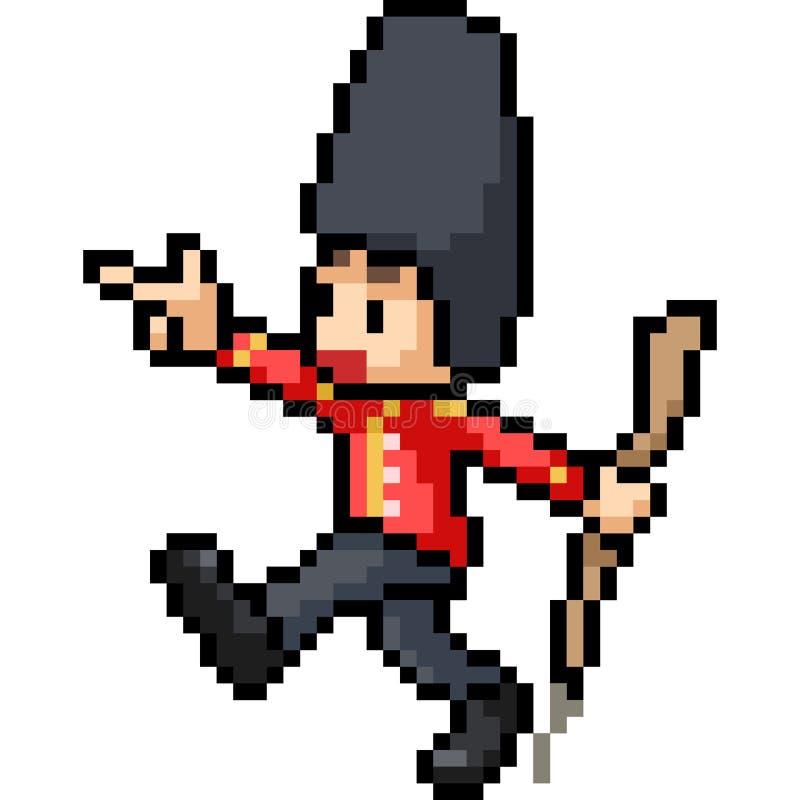 Wektorowej piksel sztuki żołnierza chłopiec angielski marsz royalty ilustracja
